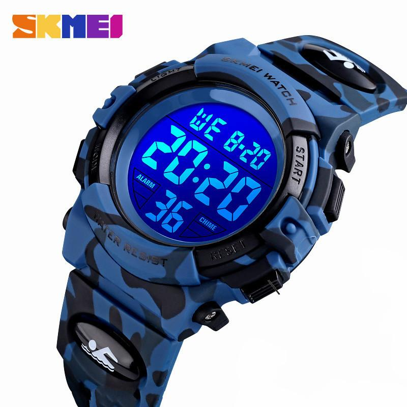 SKMEI 1548 Fashion Kids Watches Sport Children's Watch 5bar Waterproof Colorful Lights 12/24Hour Camouflage Relogio Infantil Boy