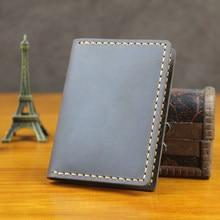 Luxury Handmade Crazy horse Genuine Leather card holder Business card holder wallet Leather credit card case card ID Holder