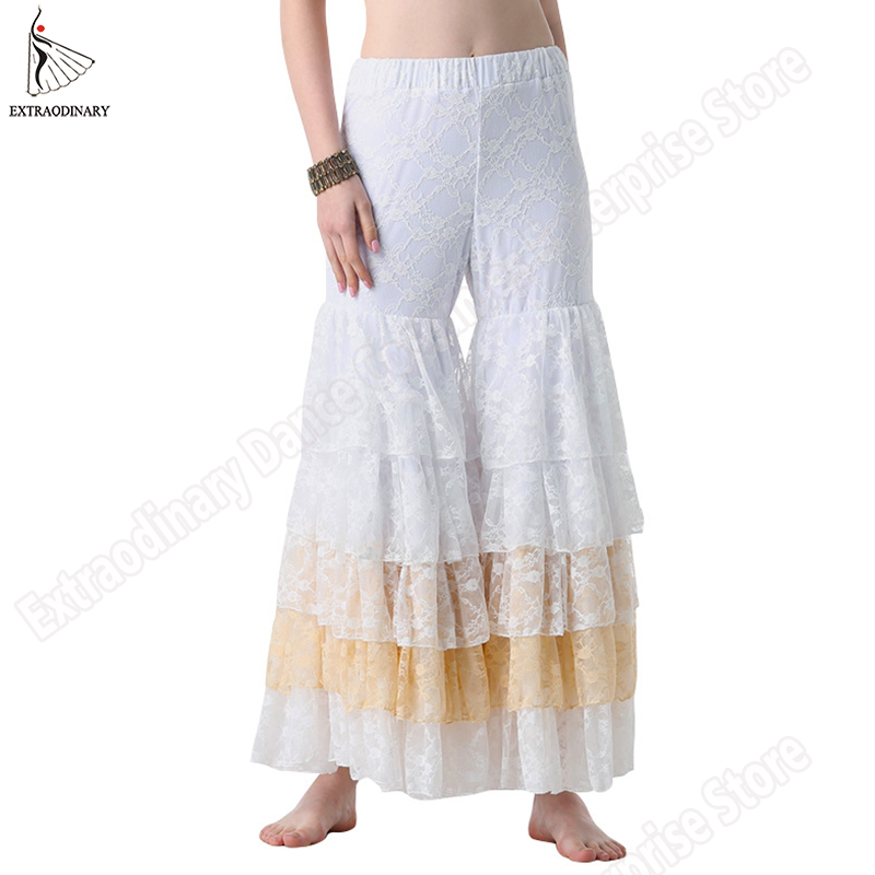 ATS Tribal Belly Dance Pants Full Pantaloons Gypsy Costume Women 5 Layered Wide-Leg Lace Pants Accessories Style