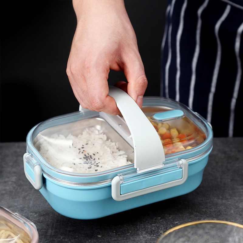 الغذاء الحاويات المحمولة الغداء صندوق من الاستانلس ستيل بينتو صندوق الغداء مانعة للتسرب مع مقصورات للأطفال مدرسة المطبخ أدوات المائدة