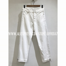 White solid color Women's jeans street buttoned denim trousers retro straight leg Low-rise jeans basic high quality trousers