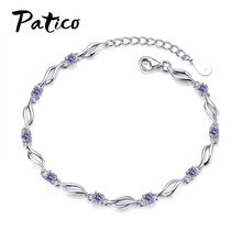 Clear CZ Purple White Crystal Charms Bracelets For Women Lovers Friendship Bracelet Femme 925 Sterling Silver Daily Jewelry