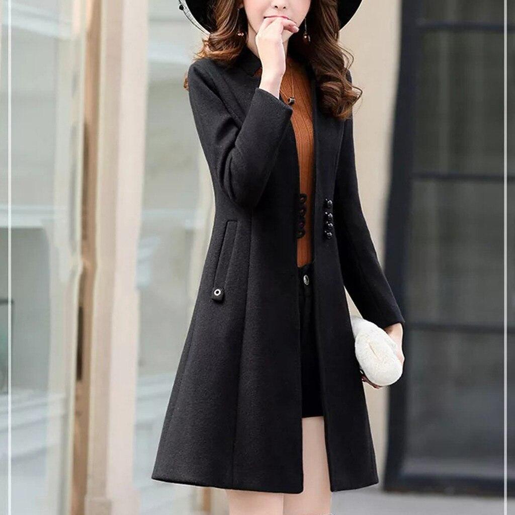 Зимнее женское тонкое пальто с длинными рукавами Повседневное Средний длинный тонкий пальто модное зимнее теплое мягкое манто Femme Hiver элегантное спортивное пальто