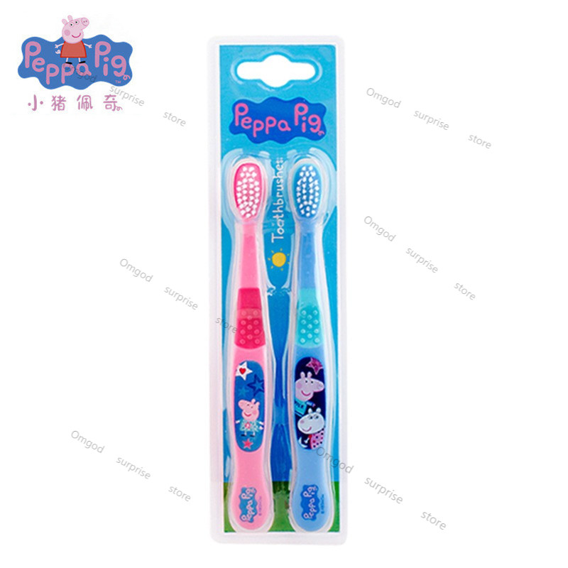 Peppa Pig  Cartoon Anime Character Model  Plastic Creative Light and Convenient  Toothbrush  Boy Girl Birthday Gift