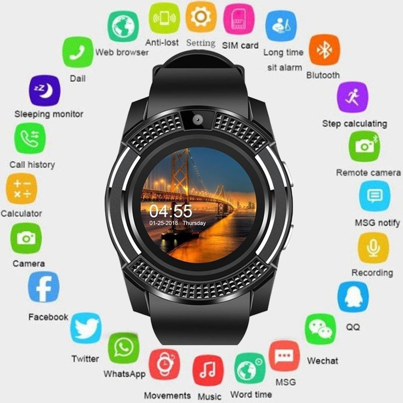 2019 smart watch Bluetooth touch screen Android waterproof sports men and women smart watch with camera SIM card slot PK DZ09