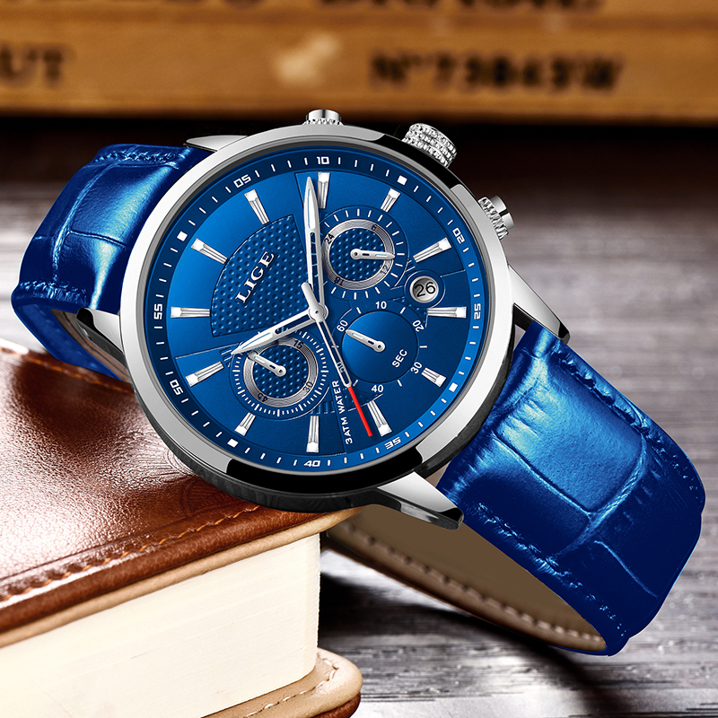 LIGE Fashion Mens Watches Top Brand Luuxury Blue Quartz Clock Male Casual Leather Waterproof Sport Chronograph LIGE Fashion Mens Watches Top Brand Luuxury Blue Quartz Clock Male Casual Leather Waterproof Sport Chronograph Relogio Masculino