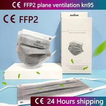 Ce ffp2 máscara reutilizar kn95 máscara cinza 5 camada de carvão ativado máscara respirador de poeira anti-falsificação reutilização kn95 mascarillas