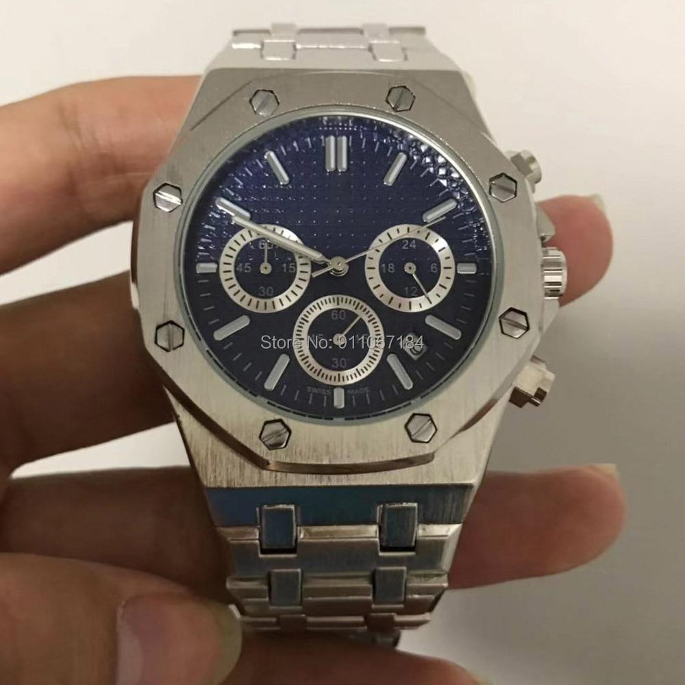 Прямая поставка 2020 самые продаваемые продукты AP наручные часы для мужчин хронограф кварцевые часы с синим циферблатом мужские часы 40 мм