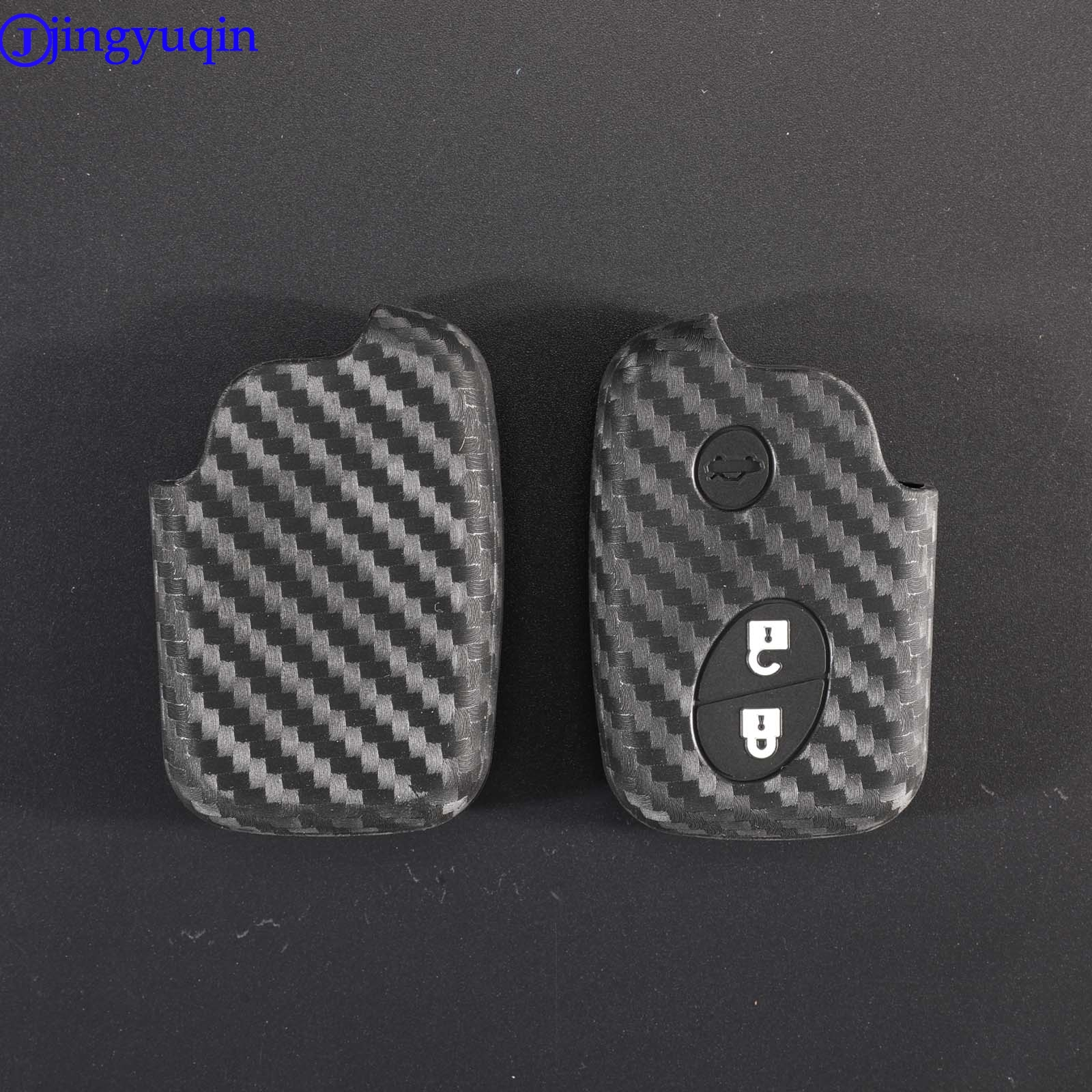 jingyuqin Carbon Fiber Patten Silicone For <font><b>Lexus</b></font> CT200h ES 300h IS250 GX400 RX270 RX450h <font><b>RX350</b></font> LX570 Car <font><b>Key</b></font> <font><b>Case</b></font> Cover Holder image