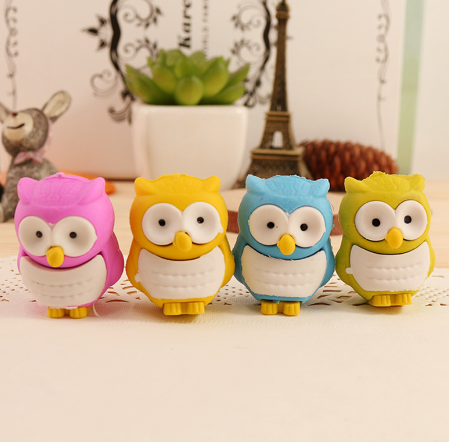 2pcs Owl Rubber Pencil Eraser Stationary School Supplies Items Kawaii Office Creative Cartoon For Kids Gift Students Prizes