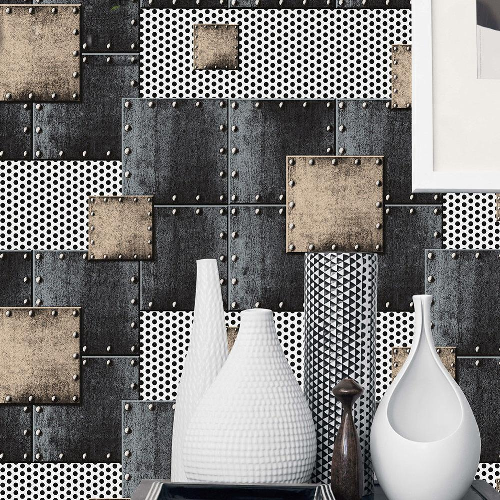 Retro loft wallpaper 3d space industrial style  metal sheet patch welding wall cover cafe bar studio internet cafe background