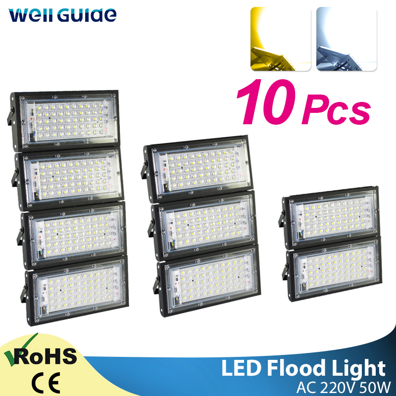 10pcs LED Flood Light 50W Led Floodlight Led Cob Spotlight 2835 SMD 220V 240V LED Street Lamp Waterproof IP65 Outdoor Lighting