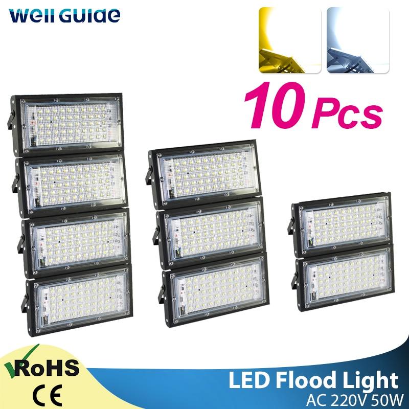 10pcs LED Flood Light 50W Led Floodlight Led Cob Spotlight 2835 SMD 220V 240V LED Street Lamp Waterproof IP65 Outdoor Lighting