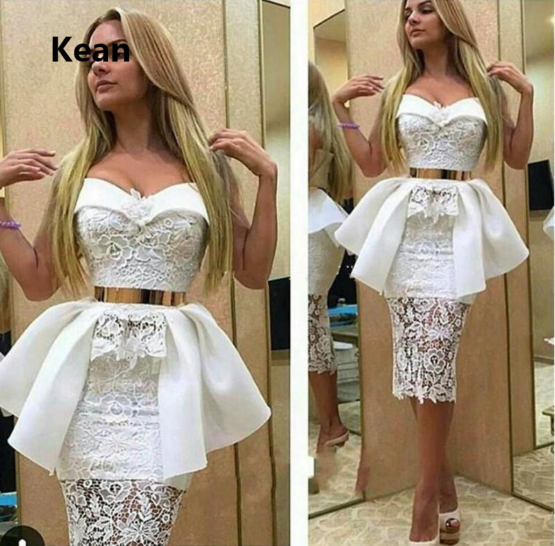 Ivory White Cocktail Dresses Sweetheart Lace Ruffle Gold Belt Mermaid Knee Length Short Party Dress Homecoming Dresses