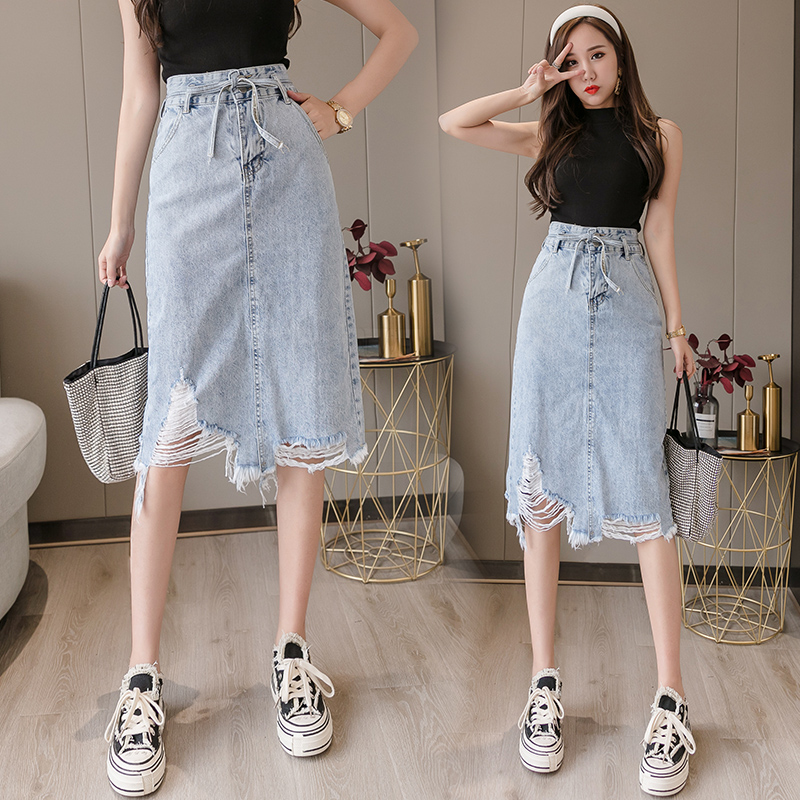 Womens Skirt Vintage Clothes Ripped Denim Long Skirts Blue Harajuku Summer High Waist Streetwear 2020 Flowy Fashion Spring