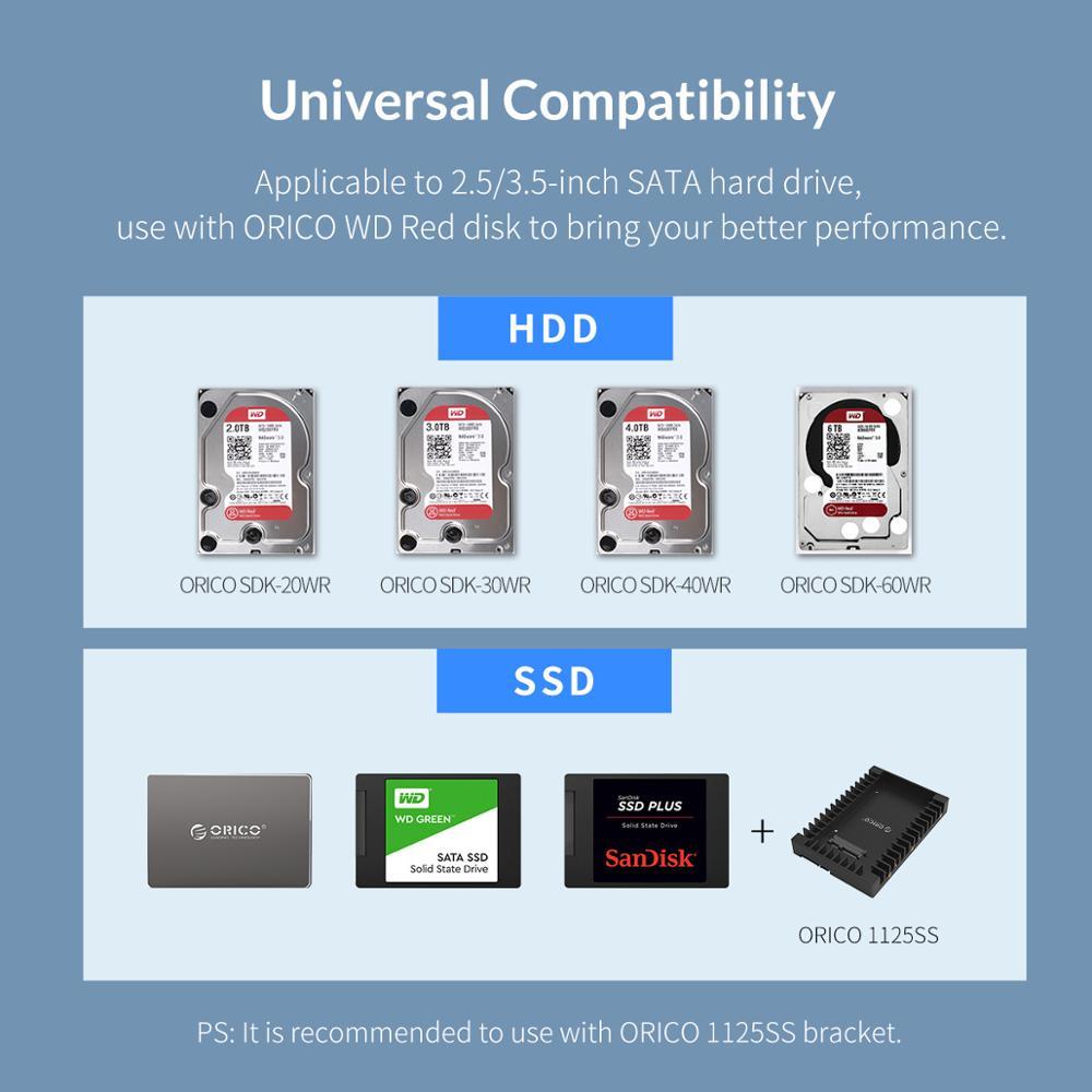 Image 5 - オリコ 4 ベイ 3.5 インチ USB3.0 sata hdd エンクロージャアルミサポート 64 テラバイト hdd ドッキングステーション 150 ワット内部電源アダプタHDD ケース   -
