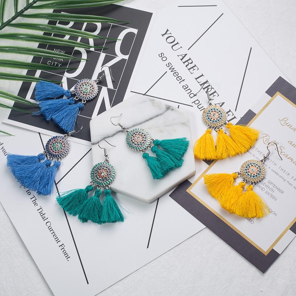 New Bohemian Handmade Sunflower Earrings For Women red white Tassel earings Female Jewelry Bridal Fringed Vintage brincos Gifts in Drop Earrings from Jewelry Accessories