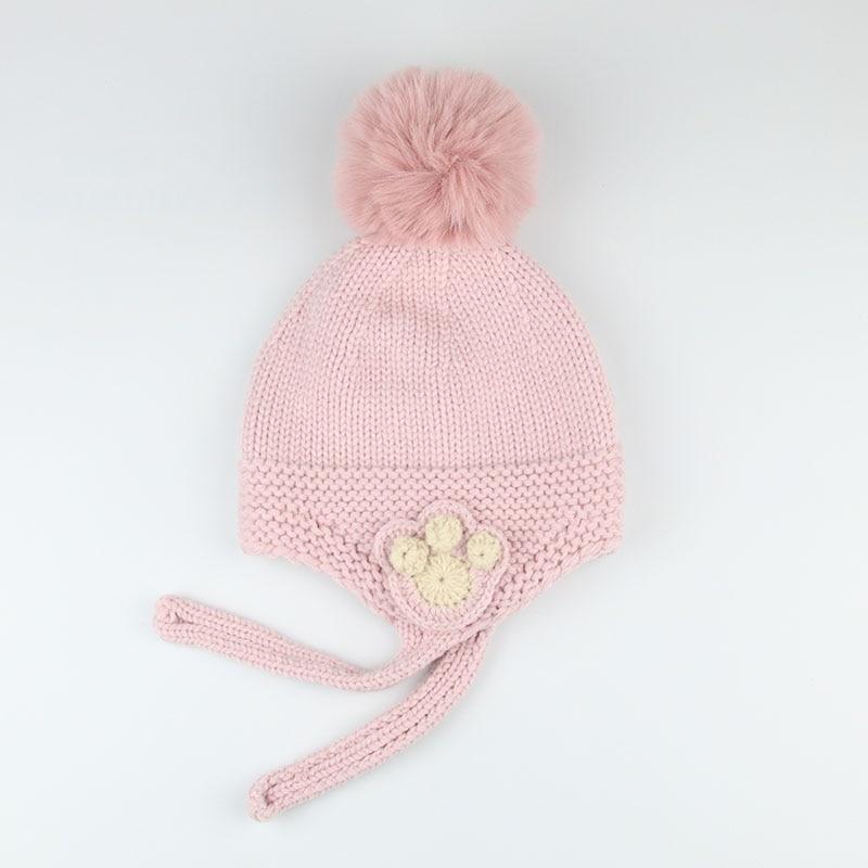 2019 Kids Hat With Pompon Earmuffs Winter Toddler Hats Warm Children Beanie Fashion Baby