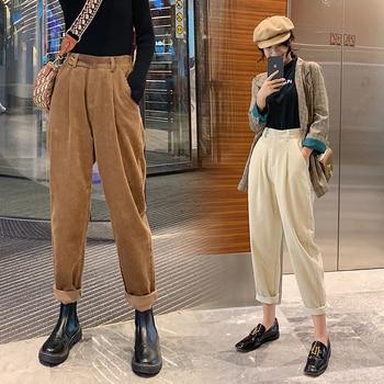 autumn winter Corduroy Pants women high waist pockets trousers women plus size 2019 streetwear Harem pants pantalon femme 1