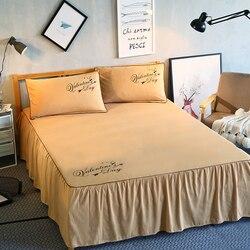 Falbanka na ramę łóżka narzuta na łóżko jednolity kolor prześcieradło pokrywa narzuta sypialnia pościel domowa zestaw pojedynczy pełna królowa król narzuta