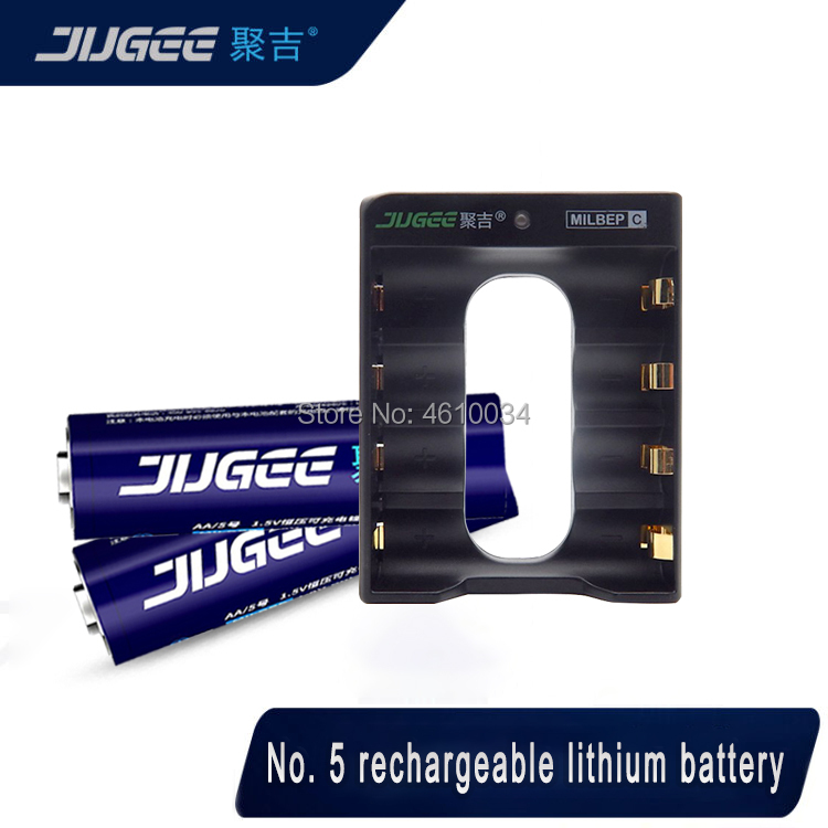 2pcs jugee AA 1.5V 3000mWh lithium li-ion rechargeable battery +4 Channel polymer lithium li-ion battery batteries charger image