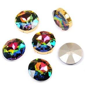 Image 2 - YANRUO 1201 Rivoli 27mm kryształ Vitrail średni szyć na kamienie duży diament okrągły cyrkonie wskazanie z powrotem DIY Craft ubrania
