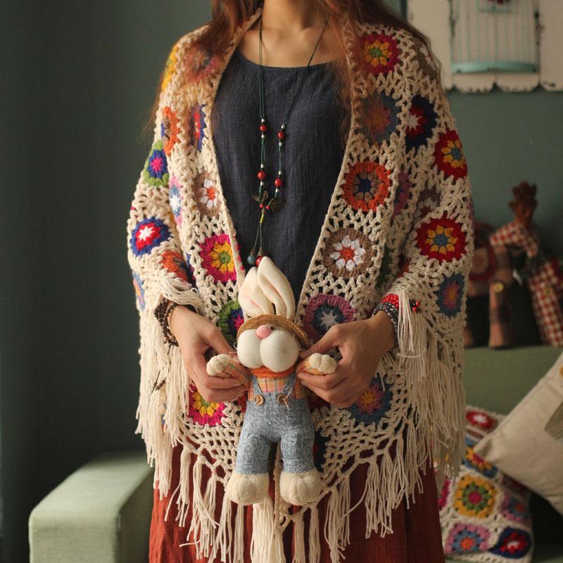 2020 Pure Handmade Retro Mori Girl Mori Arts Fan Knit Hollow Scarf Shawl Original Triangle Scarf Tassel Cape