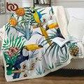 Постельные принадлежности Outlet Toucan Birds Sherpa одеяло для кровати Тропическое растение бархатное плюшевое покрывало ананас покрывало 1 шт
