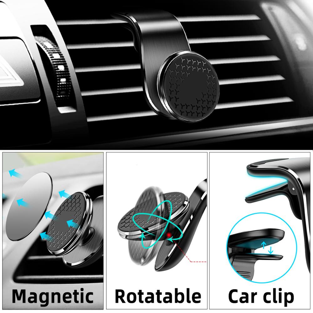 Magnetic Car Phone Holder Universal Air Outlet Metal Magnetic Stand Car Vent Clip Mobile Navigation Magnet Smartphone Bracket