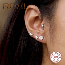 ROXI INS Moon Star Asymmetric Glossy Piercing Stud Earrings for Women Pendientes 925 Sterling Silver Earrings Oorbellen Jewelry