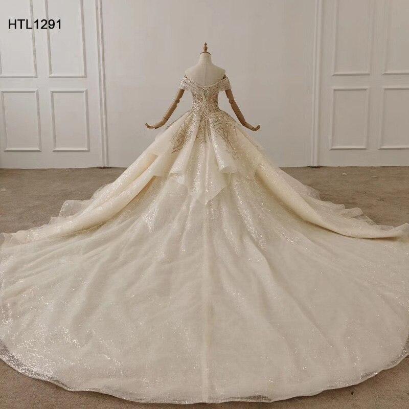 Image 2 - HTL1291 вечернее платье с открытыми плечами 2020 с аппликацией из Золотых Блесток женское вечернее платье большого размера со складками на шнуровке сзади Vestidos ElegantesВечерние платья    АлиЭкспресс