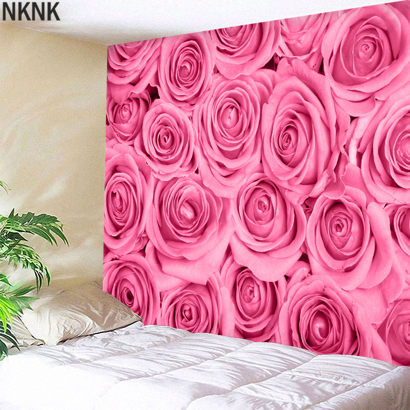 3D Tapestry wall hanging Pink rose Wedding Bedspread Dorm Cover Beach Towel Backdrop Home Room Wall Art Multiple sizes
