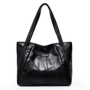 Image 4 - Sacs à main Vintage en cuir Pu pour femmes, sacs à épaule grande capacité mode couleur unie noir, grand fourre tout, décontracté