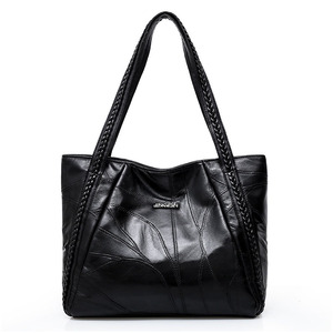 Image 4 - Vintage Large Capacity Pu Leather Shoulder Bags for Women Fashion Solid Color Black Handbags Female Casual Big Tote