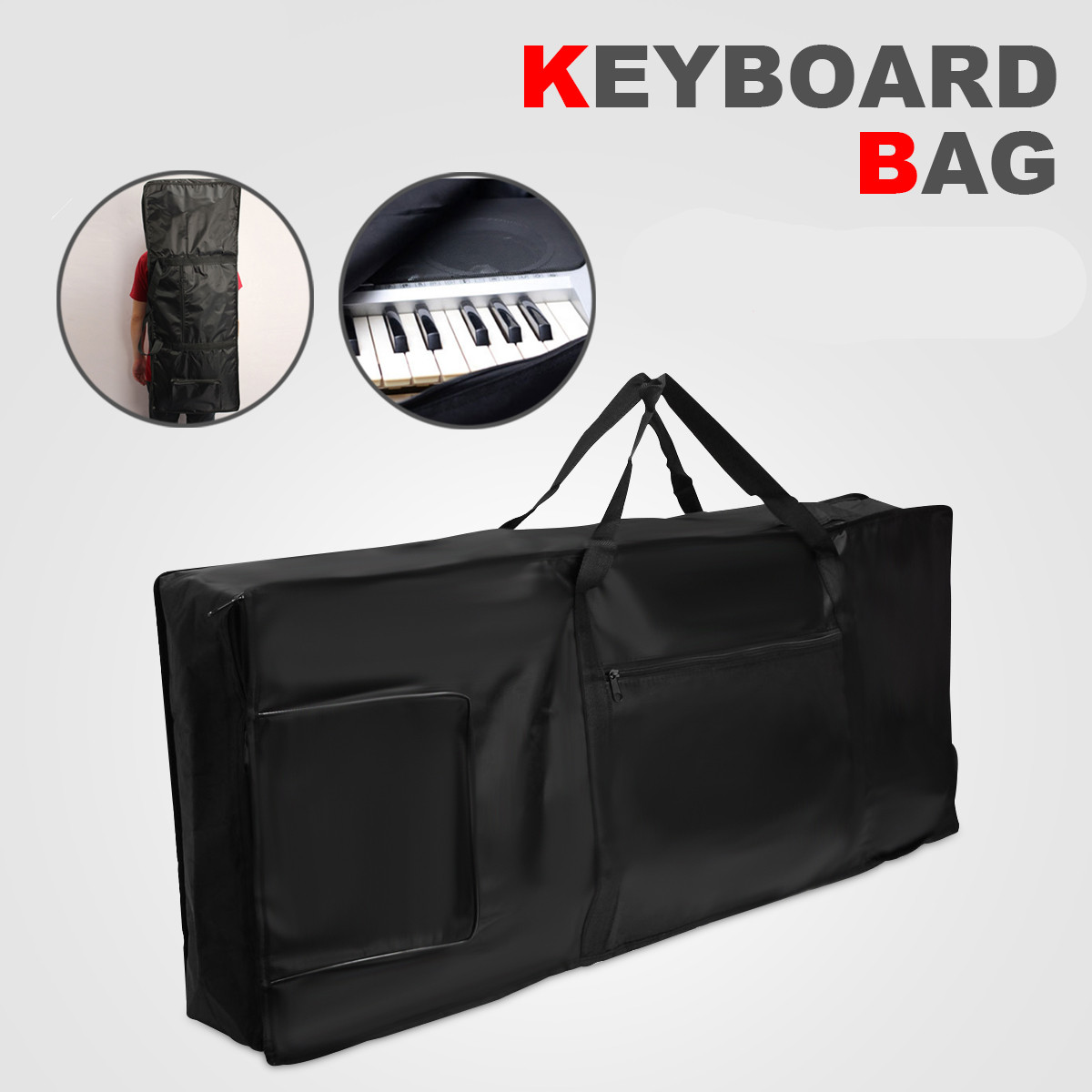 Keyboard Bag Waterproof Portable Thick Padded Electric Piano Keyboard Bag 61 Key Double Shoulder Straps Padded Case Anti Shock
