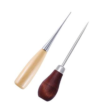 Dziurkacze kaletnicze profesjonalne szmatki szydło narzędzie do szycia otwór przebijanie skóry drewno uchwyt stalowe szydło Craft szwy skórzane tanie i dobre opinie CN (pochodzenie) Wood+Steel
