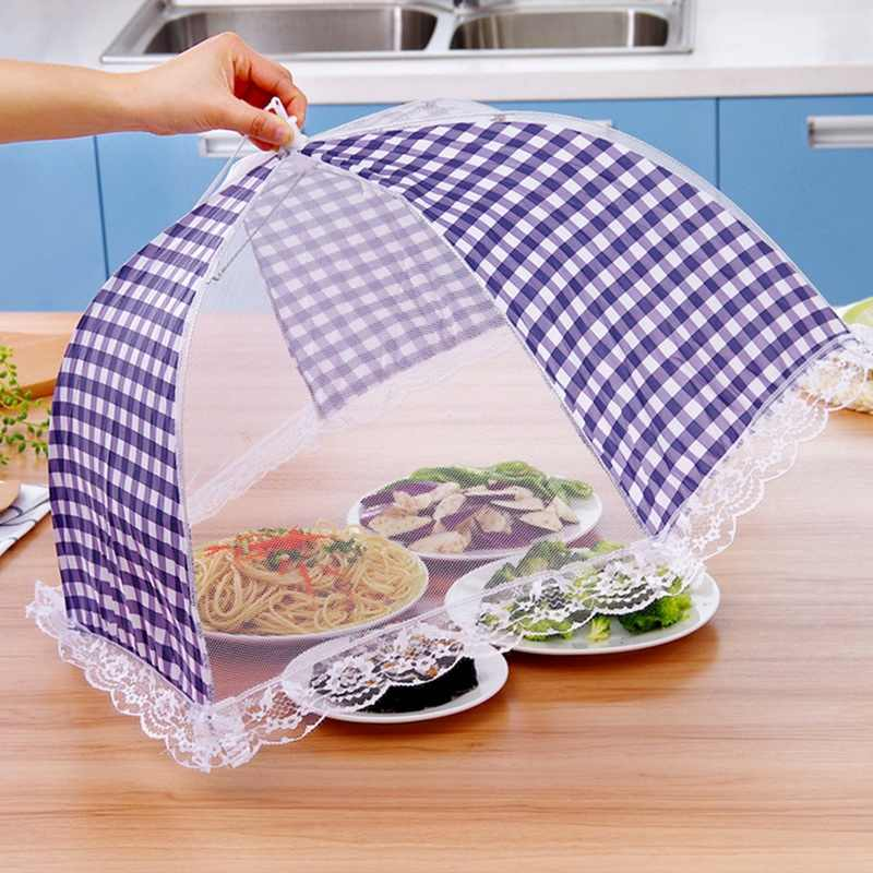 Kitchen Umbrella Lace Anti Fly Mosquito Folded Food Dish Cover Protector Hygiene Grid Style Kitchenware 1 Pcs