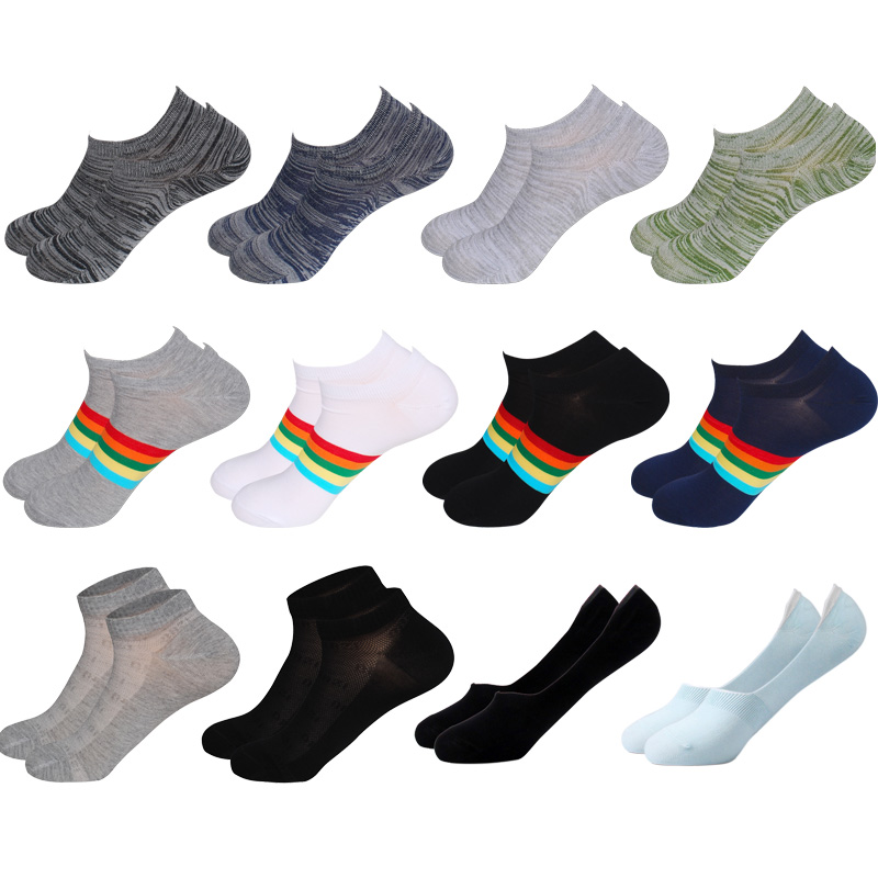 Thin Ankle Socks For Men With Rainbow & Stripe Design Nonslip Invisible Soft Colorful Bamboo Fiber Invisible Socks Men