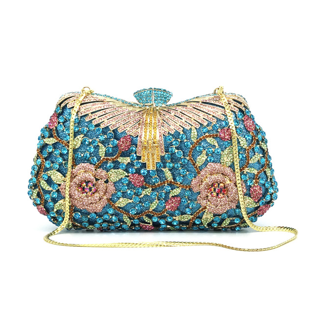 Hollow Out Flower Crystal Evening Clutch   6
