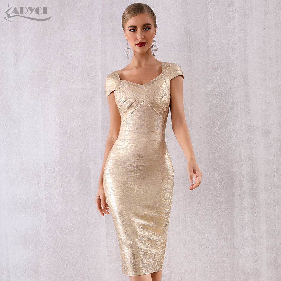 ADYCE 2019 New Summer Gold Bandage Dress Women Vestido Sexy Short Sleeve Bodycon Club Dress Midi Celebrity Evening Party Dresses