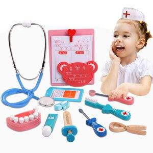 6 pçs conjunto de brinquedos de madeira engraçado jogo da vida real cosplay médico brinquedo dental fingir doutor acessórios ferramentas brinquedos para crianças gif