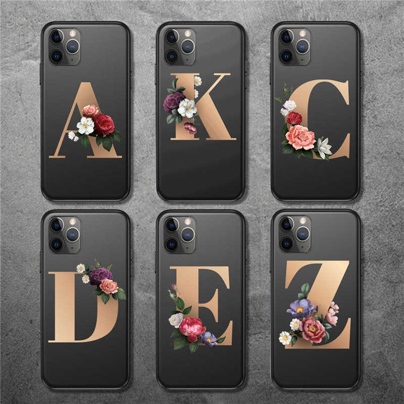 Lovebay For iPhone 11 Case Initial Letter Flowers For iPhone 11 Pro Max X XR XS Max 8 7 6 6s Plus Soft Silicone Phone Back Cover