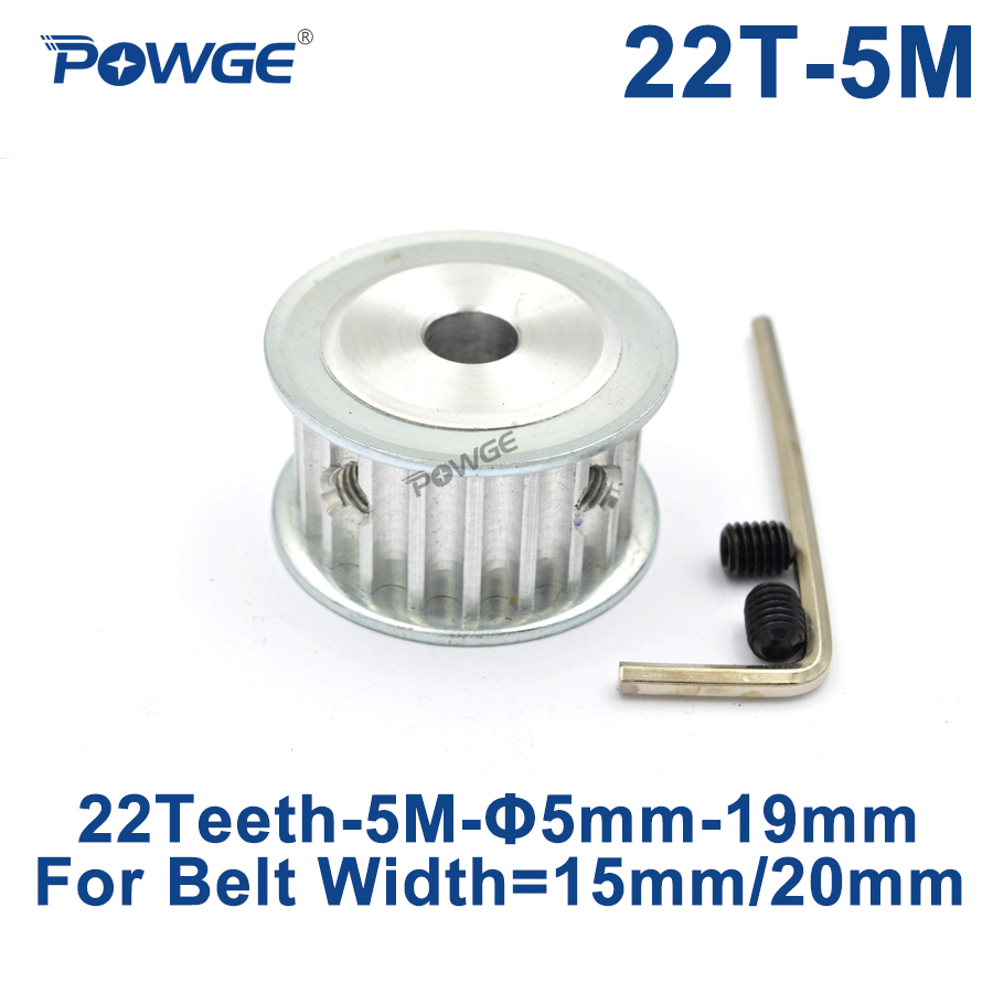 POWGE 22 Teeth HTD 5M Synchronous Timing Pulley Bore 6/6.35/8/10/12/14/15/16/17/18/19mm for Width 15/20mm HTD5M 22Teeth 22T Pulleys    - AliExpress