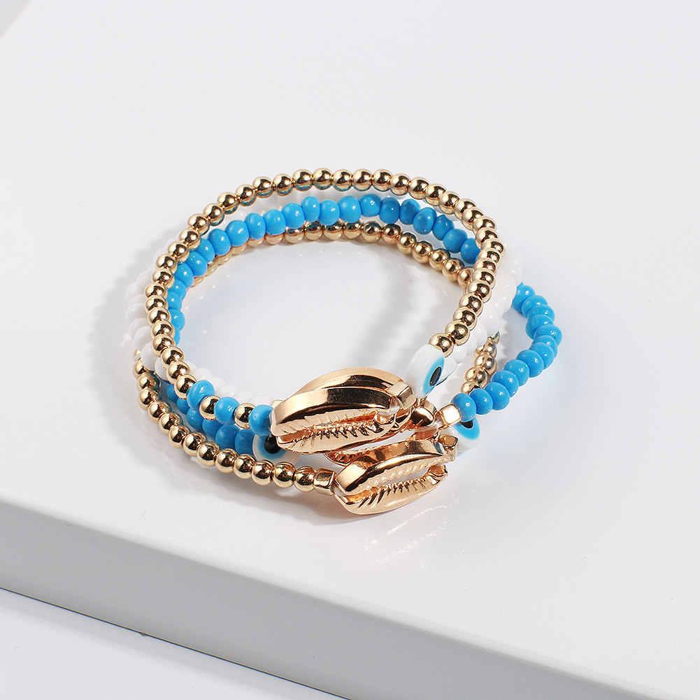 Złoto Evil przepaska na oko dla kobiet koraliki Boho przyjaźń bransoletka męska bransoletka ręcznie zroszony bransoletka tenisowa prezent dla dziewczyny
