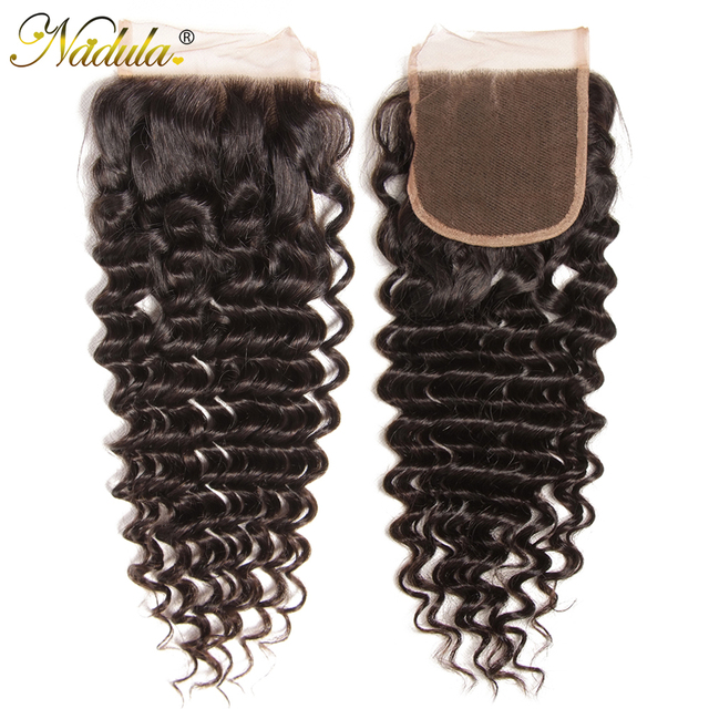 Nadulaบราซิลคลื่นลึก 10 20 นิ้วRemy Hair 4*4 ฟรีPartสวิสลูกไม้ปิดจัดส่งฟรี