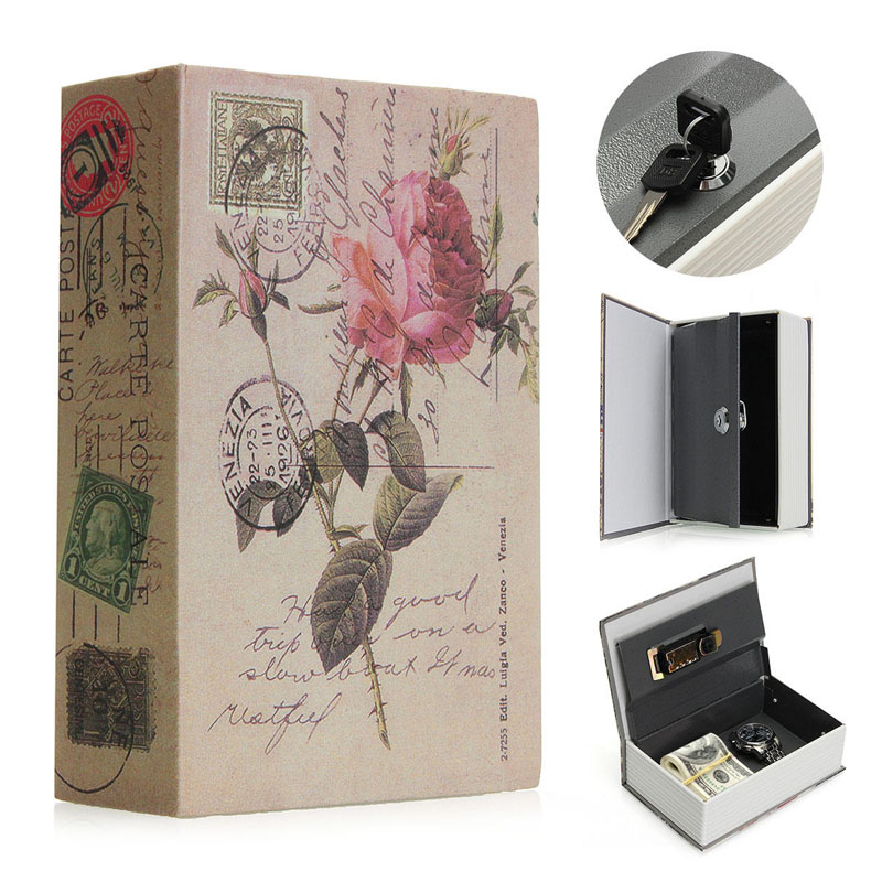 Book Safes Fun Simulation Key Lock Book box Metal Steel Cash Secure Secret Hidden Piggy Bank Storage Box  Size 18 11 5 5 5cm