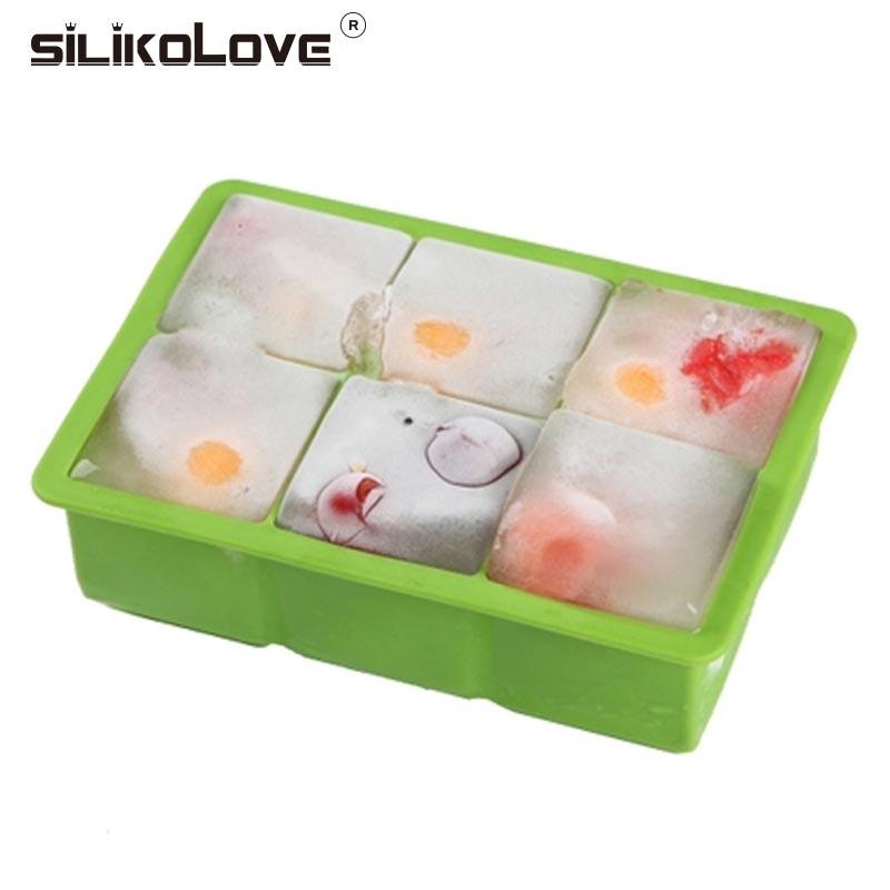 SILIKOLOVE 6 Cavity 5cm Ice Cube Mold Silicone Ice Tray for DIY Making Ice Cream Fruit Pudding Mould