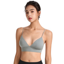 Sports Bras For Women Push Up Wireless Deep V Thin Nylon Padded Sleepwears Gym Workout Yoga Bralette Underwear Daily Fitness Top