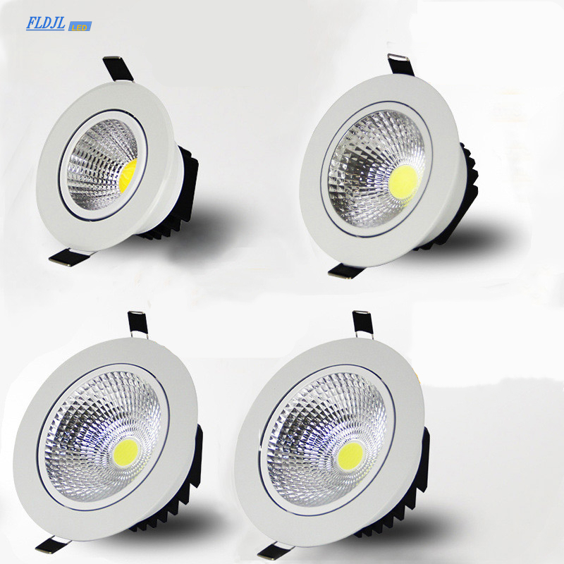 Super Bright Recessed Dimmable LED COB Downlights 5W 7W 9W 12W 15W 18W LED Spot Lights AC85-265V LED Decoration Ceiling Lamp