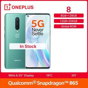 Купить Смартфон OnePlus 8 с глобальной прошивкой, 8 Гб 128 ГБ, Snapdragon 865, 90 Гц, 6,55 дюйма, жидкий AMOLED экран, 4300 мАч, Warp 30 Вт, тройная камера 48 МП, NFC